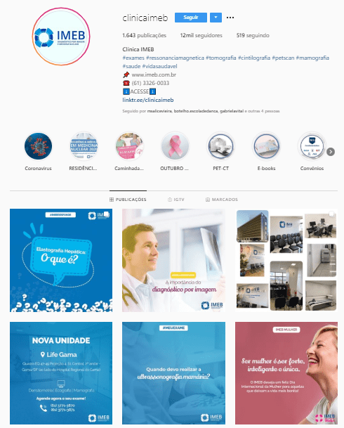 como usar as redes sociais instagram clínica imeb imagens médicas de brasília
