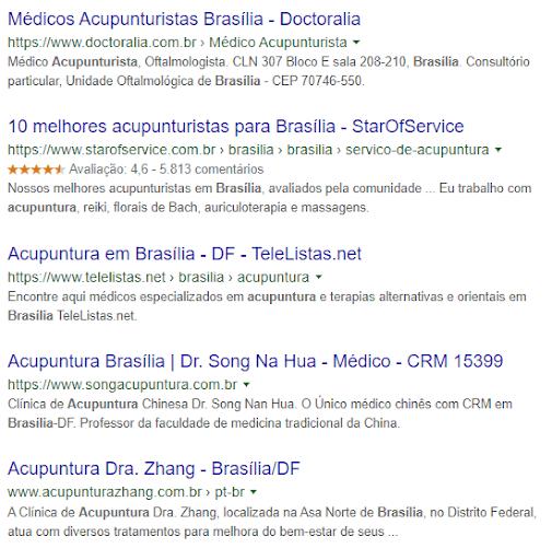 """pesquisa por """"acupuntura em Brasília"""", no Google"""