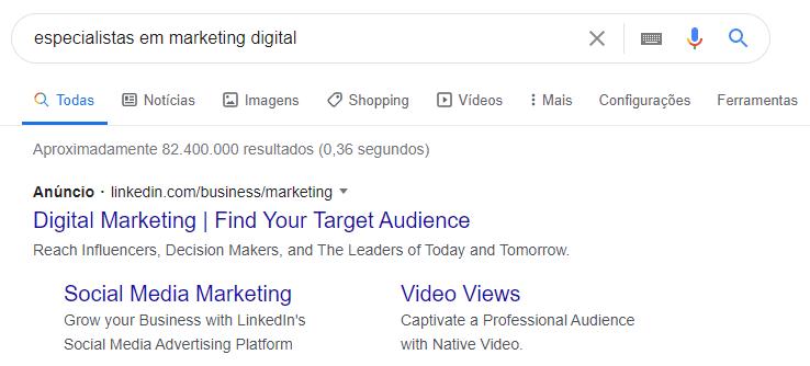 exemplo de busca no google especialistas em marketing digital