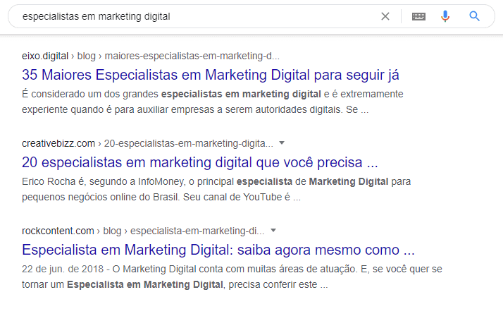 exemplo de resultado orgânico no google especialistas em marketing digital