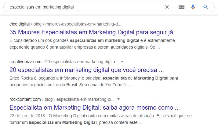 exemplo de resultado orgânico no google especialistas em marketing digital