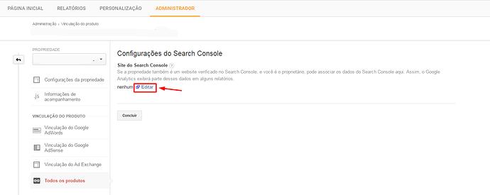 Configurações do Search Console